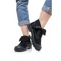 Высокие женские кроссовки черные с прорезиненным носком