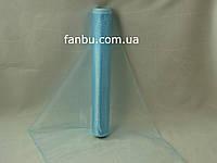Органза флористическая на метраж,цвет голубой (ширина 36-38см)