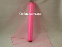 Органза флористическая на метраж,цвет розовый (ширина 36-38см)