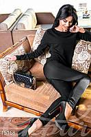 Стильные комбинированные женские лосины с низкой посадкой со вставками из стеганной вискозы дайвинг