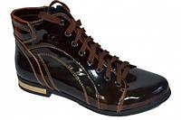 Полуботинки женские коричневые лаковые на шнуровке.Зимний вариант.