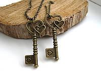 Ключик на цепочке, парные кулоны для влюбленных, подвески для двоих, сердечки для пары