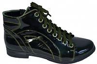 Полуботинки женские зеленые лаковые на шнуровке.Демисезон