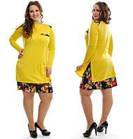 Платье женское трикотаж +  цветной принт Размер: 48-50, 50-52, 52-54