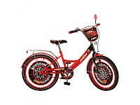 Детский двухколесный велосипед мульт 20 дюймов Тачки CS201, красно-черный