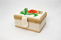Скринька для рукоділля з вишивкою (20*15*10 см). Ручна робота.