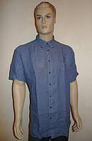 Льняная рубашка  серо-синего цвета