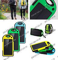 Зарядные устройства, Внешний аккумулятор Power Bank 5000 mAh (встроенная солнечная батарея)+Led фонарик