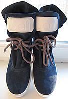 Sofi осенние женские ботинки натуральная замша синего цвета