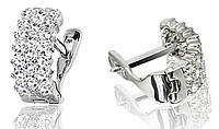 Серебряные родированные серьги с цирконием на английском замке с00080