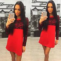 Свободное красное платье с кружевными вставками h-31031227
