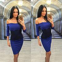 Облегающее платье с открытыми плечами и кружевной вставкой (в расцветках) w-31031228