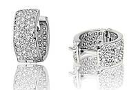 Серебряные родированные серьги с цирконием на английском замке с00006
