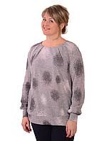 Блуза нарядная трикотажная серый жаккард  ,цвет-сталь. Состав вискоза 100%. Длина изделия 74 см . Длина рукав