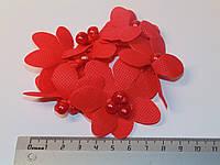 Резинки плетеные с тканевыми цветами и бусинами