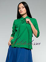 Блузка Алита с рубашечным воротником зеленая