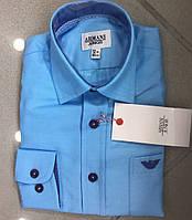 Рубашка детская, голубая. Рубашки для мальчиков 2-12 лет