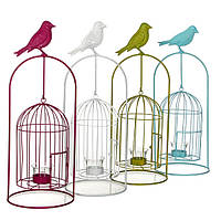 Декоративное изделие Greenware в виде клетки для птиц, с подсвечником,1 шт (177942)