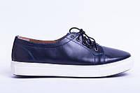 Недорогие женские кеды синие кожаные на шнурках