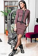 Стильное облегающее женское платье на молнии спереди с карманами рукав длинный кукуруза