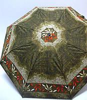 Женский зонтик полуавтомат Doppler, в коричнево - зеленых тонах
