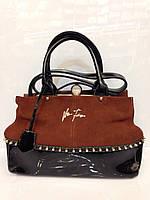 Женская сумка Velina  Fabbiano 334 классическая ридикюль из замши и кожзама светло коричневая
