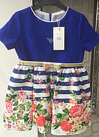 Платья для девочек синее, одежда для девочек 4-10 лет