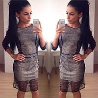 """Модное платье """"Вечерний образ"""" с рукавами из экокожи. Артикул SM17"""