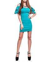 """Короткое яркое платье """"Алисия изумруд"""", до 48 размера"""