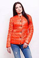 Короткая женская куртка на кнопках оранжевая (весна-осень)
