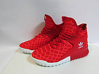Мужские кроссовки Adidas красные высокие ( 345) код 957А