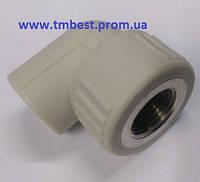 """Уголок полипропиленовый диаметр 40х1-1/4"""" с внутренней резьбой ППР(PPR) для резьбового перехода."""