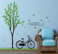 """Наклейка на стену, украшения стены наклейки  """"велосипед отдыхает возле дерева с птицами"""" (2листа 60*90см)"""