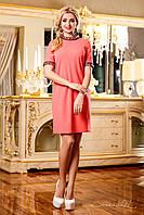 Нежное, свободное платье скрывающее недостатки фигуры, с камнями на рукавах и горловине, 46-52 размеры