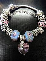 """Браслет в стиле Pandora (пандора) """"Розы муранское стекло"""" P045"""