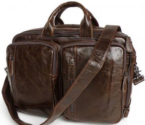 Вместительная мужская кожаная сумка - портфель 3в1 S.J.D. 7014Q-1