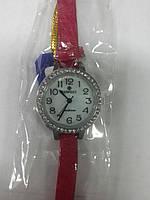 Часы кварцевые Perfect на красном ремешке женские с камнями арт.648