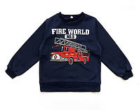 """Теплая кофта """"Пожарная машина"""" для мальчика. 110, 120, 130 см"""