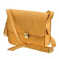 """Женская кожаная сумка желтая бохо """"Лилу"""" нубук жіноча шкіряна сумка"""