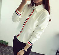 Хлопковая рубашка женская с полосками.