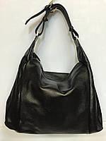 Женская сумка - мешок Solana 1353 классическая из натуральной кожи черная