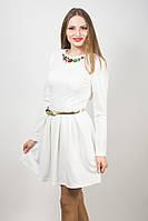 Платье женское нарядное белое с камнями-самоцветами 125