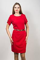 Платье женское красное короткий рукав с золотым пояском 123/1