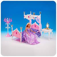 Мебель для кукол «Спальня» (кровать, канделябр, зеркальце, стул)