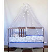 Cпальный комплект в детскую кроватку с защитой и балдахином 9 предметов 60х120 Морячок хлопок ТМ Медисон