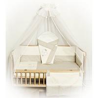 Cпальный комплект в детскую кроватку с защитой и балдахином 9 предметов 60х120 Щенок хлопок ТМ Медисон