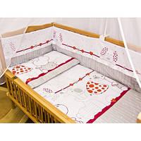Cпальный комплект в детскую кроватку с защитой и балдахином 7 предметов 60х120 Зоопарк хлопок ТМ Медисон
