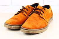 Туфли мужские кожаные коричневые, рыжие, натуральная замша