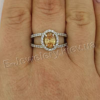 "Серебряное кольцо с цирконами ""Азалия"""