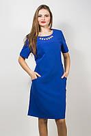 Платье с украшением и карманами электрик S6